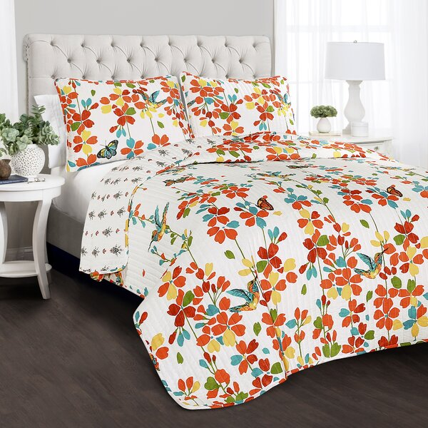 Hemmer Flower 100% Cotton 3 Piece Reversible Quilt Set by Zipcode Design